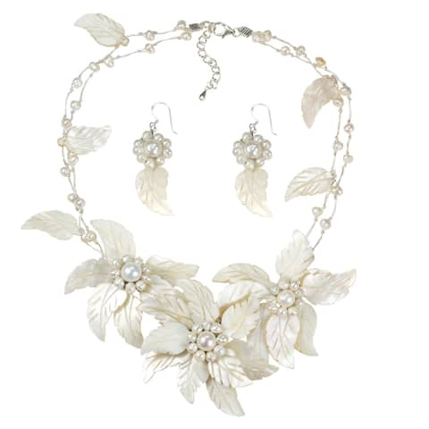 Handmade Statement Carved Mother of Pearl Floral Bouquet Jewelry Set (Thailand) - White