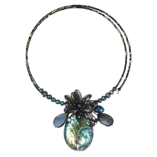 Handmade Tropical Petals Peacock Abalone Shell Memory Wire Choker (Thailand)