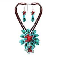 Handmade Dazzling Calla Lilies Turquoise Statement Jewelry Set (Thailand)