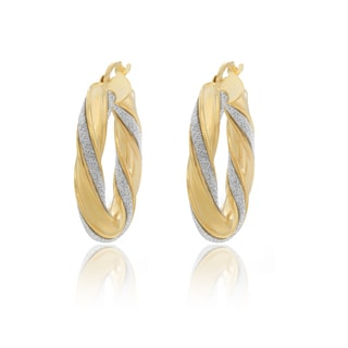 14K Gold Plated Sterling Silver Glitter Hoop Earrings