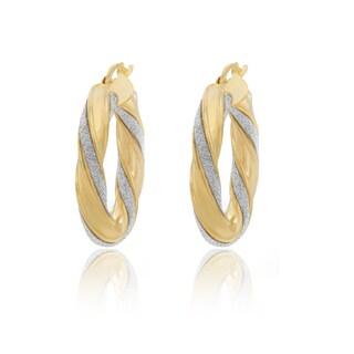 Roberto Martinez Gold Plated Silver Glitter Hoop Earrings