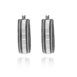 Sterling Essentials Black Rhodium-plated Silver Glitter Hoop Earrings