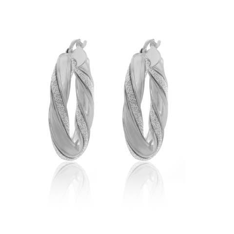 Sterling Essentials Rhodium-plated Silver Glitter Hoop Earrings