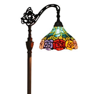 Amora Lighting Tiffany Style 62-inch Roses Reading Floor Lamp