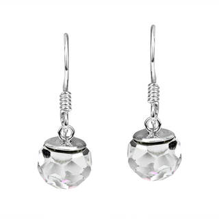 Handmade Dangle Crystal Prism .925 Sterling Silver Earrings (Thailand)