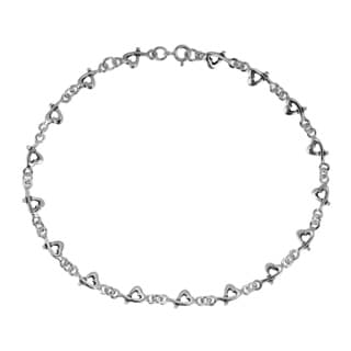 Handmade Love Intertwine Heart Link Sterling Silver Anklet (Thailand)