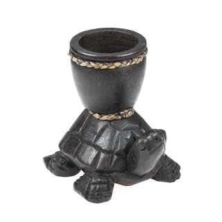 Sea Turtle Carved Rain Tree Wooden Candle Holder (Thailand)