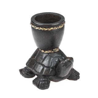 Handmade Sea Turtle Carved Rain Tree Wooden Candle Holder (Thailand)