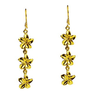 Handmade Triple Plumeria Gold Vermeil Solid .925 Silver Earrings (Thailand)