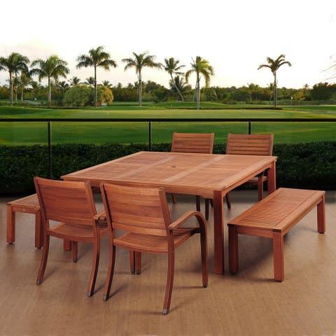 Amazonia Sorrento 7-Piece Eucalyptus Square Patio Dining Set