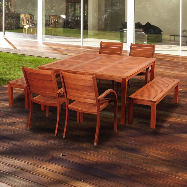 Amazonia Sorrento 7 Piece Eucalyptus Square Patio Dining Set