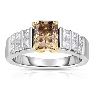 Eloquence 18k Two-tone Gold 2 3/4ct TDW Cognac and White Diamond Ring (H-I, SI2-SI3)