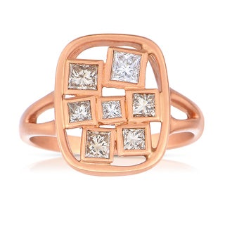 Eloquence 18k Rose Gold 1/2ct TDW Champagne Diamond Fashion Ring