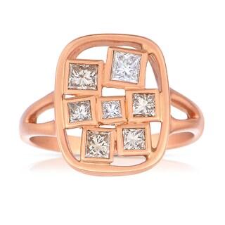 Eloquence 18k Rose Gold 1/2ct TDW Champagne Diamond Fashion Ring