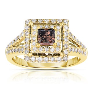 Eloquence 14k Yellow Gold 1ct TDW Cognac Double Halo Diamond Ring (H-I, I1-I2)