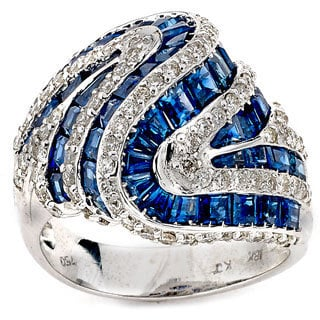 Diamonds For A Cure by Neda Behnam 18K White Gold 1 1/10 Diamond Sapphire Cocktail Ring