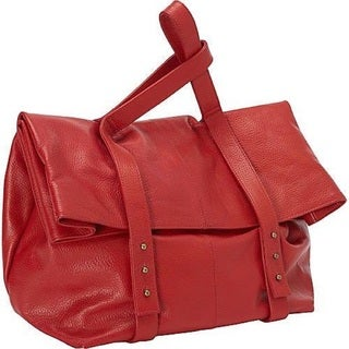 Deleite by Sharo Oversized Leather Red Clutch Handbag