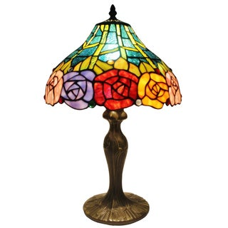 Amora Lighting Tiffany Style Roses Table Lamp