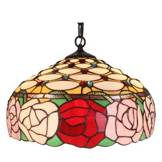 Amora Lighting Tiffany Style Roses 366-piece Hanging Lamp