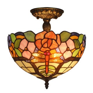 Amora Lighting Tiffany Style Floral Design Ceiling Lamp