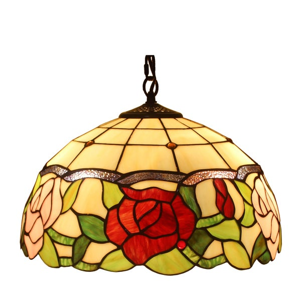 amora lighting tiffany style roses 201 piece hanging lamp free. Black Bedroom Furniture Sets. Home Design Ideas