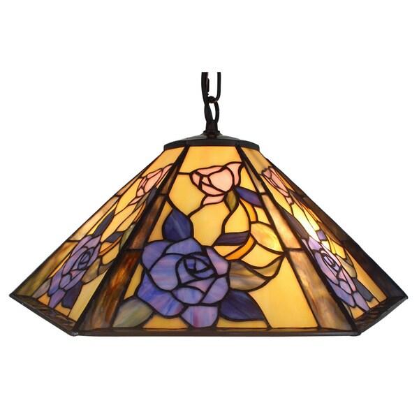 amora lighting tiffany style floral design hanging lamp free. Black Bedroom Furniture Sets. Home Design Ideas
