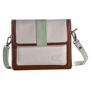 Deleite by Sharo Argentine Leather White Crossbody Bag with Mint Trim