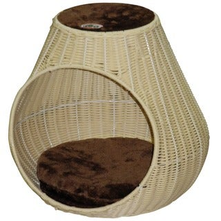 Go Pet Club 16-inch Wicker and Faux Fur Enclosed Cat Bed