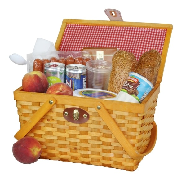 Gingham Lined Picnic Basket with Folding Handles. Opens flyout.