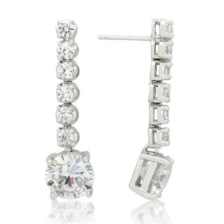Gioelli Sterling Silver Round-cut Cubic Zirconia Dangle Earrings