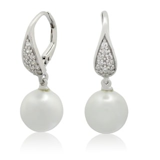Gioelli Sterling Silver Freshwater Pearl and Cubic Zirconia Dangle Earrings (9-10 mm)