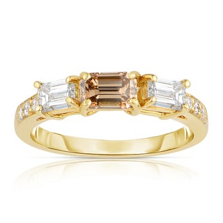 Eloquence 18k Yellow Gold 1 1/3ct TDW Cognac and White 3-stone Diamond Ring (5 options available)