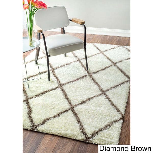 Shop Nuloom Moroccan Trellis Diamond Brown Shag Rug