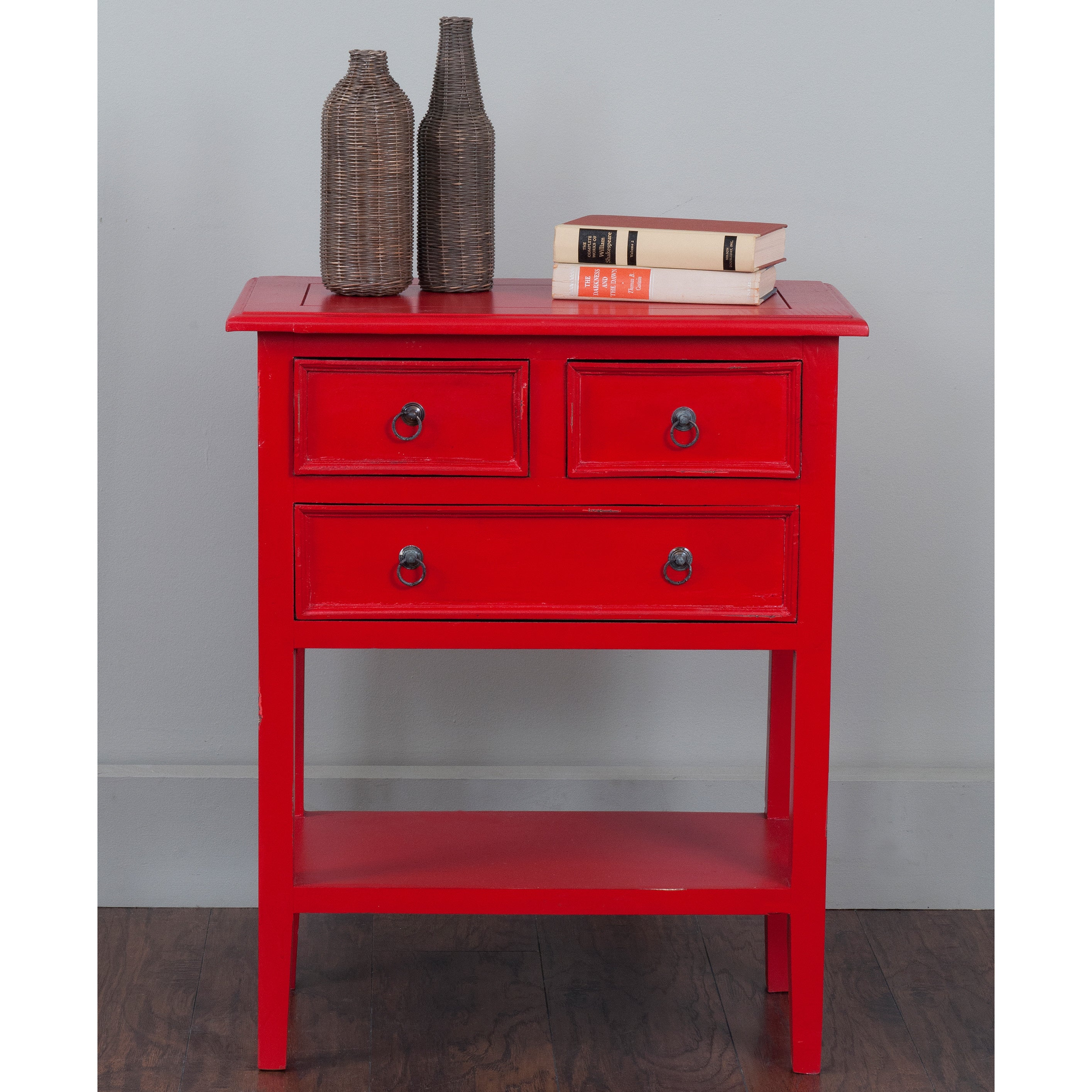- Shop Decorative Kent Casual Red Square Accent Table - Overstock