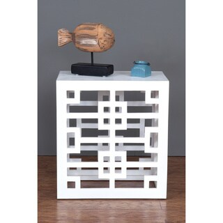 Decorative Redmond Geometric White Square Accent Table