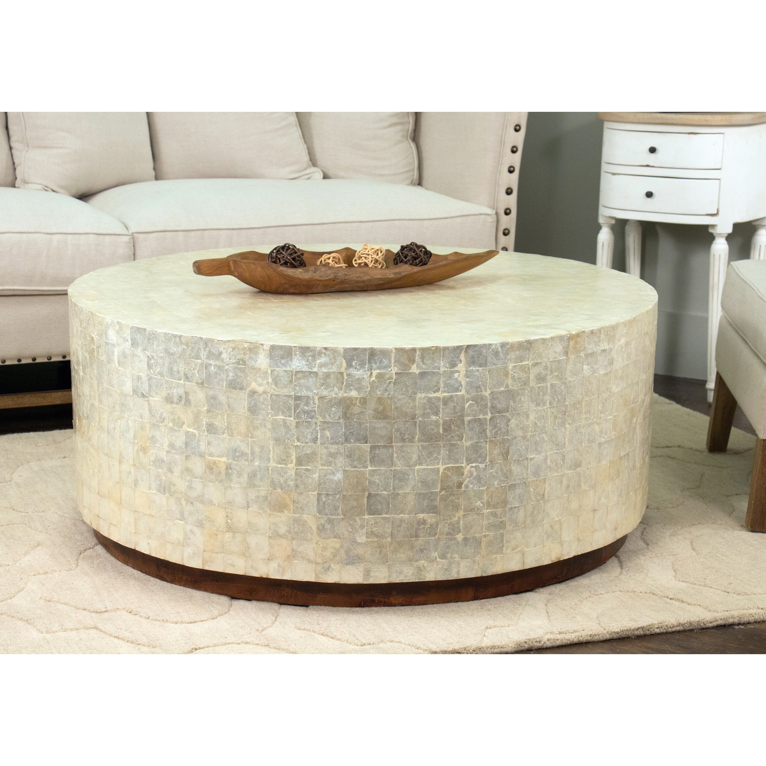 Magnificent Decorative Monument Natural Off White Round Coffee Table Evergreenethics Interior Chair Design Evergreenethicsorg