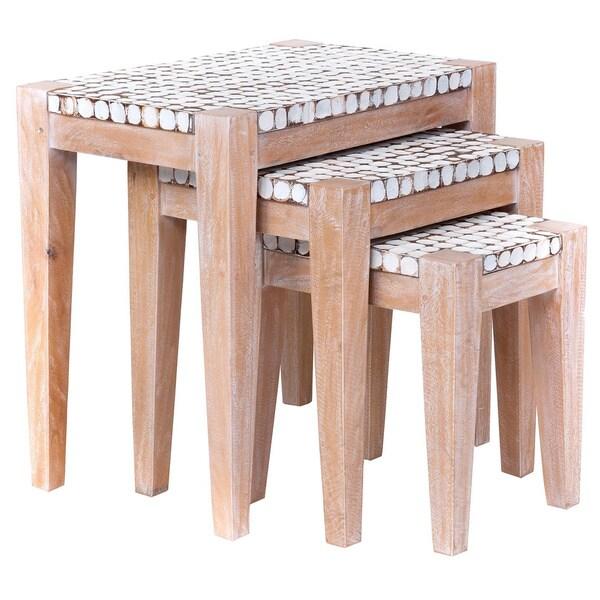 Decorative Keno Modern Tan Square Nesting Table