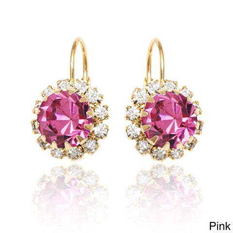 Goldplated Crystal Flower Leverback Earrings