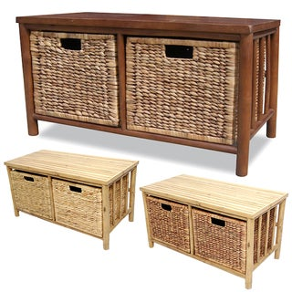 Heather Ann Bamboo Wood Entryway Storage Bench