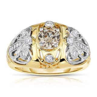 Eloquence 14k Two-tone Gold 3/4ct TDW Champagne and White Diamond Ring (H-I, I1-I2)