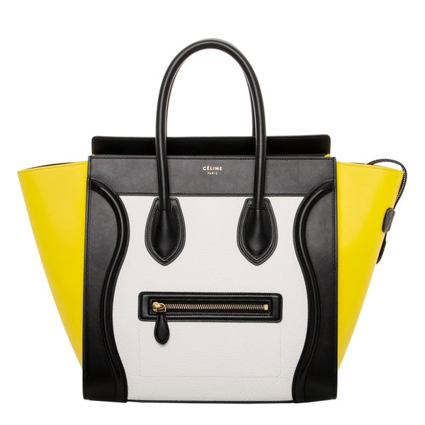 Celine Black/ Yellow Leather Luggage Tote