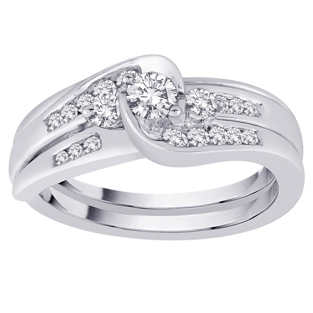 10k White Gold 1/2ct TDW Diamond Bridal Ring Set (Size 7....
