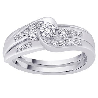 10k White Gold 1/2ct TDW Diamond Bridal Ring Set