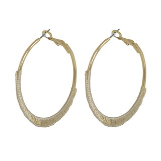 NEXTE Jewelry Wrapped Biege Silk Hoop Earrings