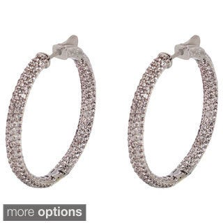NEXTE Jewelry Brass Pave-set Cubic Zirconia Inside-out Hoop Earrings