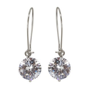 NEXTE Jewelry Silvertone Cubic Zirconia Solitaire Wire Dangle Earrings