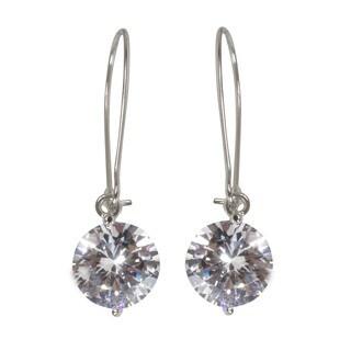 NEXTE Jewelry Silvertone Cubic Zirconia Solitaire Wire Dangle Earrings