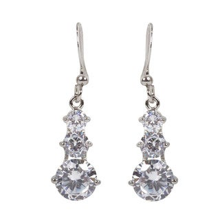 NEXTE Jewelry Silvertone Cubic Zirconia 3-stone Dangle Earrings