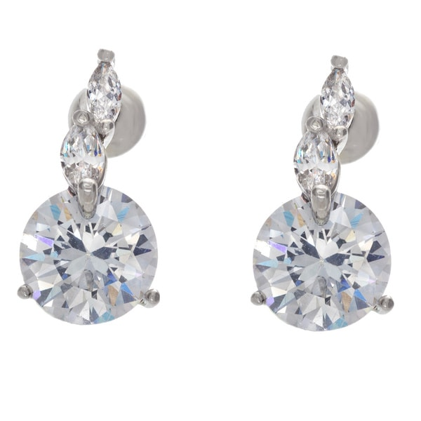 Nexte Jewelry Large Round Cubic Zirconia Stud Earrings Silver