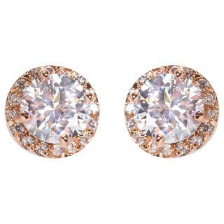 NEXTE Jewelry Brass Round Cubic Zirconia Stud Earrings